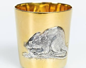 """Silver glass with Signs of Chinese Zodiac """"Rat"""""""