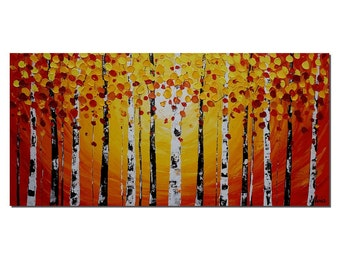 Birch Tree Painting, Landscape Painting, Abstract Art, Oil Painting, Wall Art, Canvas Painting, Abstract Painting, Canvas Art, Wall Art