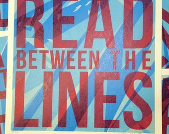 Read Between the Lines Sike Style Collaboration Letterpress Print, Red Blue