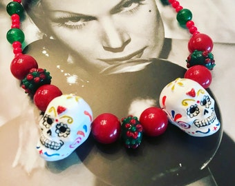 Retro Sugar Skull Hand Beaded Choker Necklace -- Sparklelicious by Sassy -- Day of the Dead