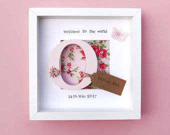 Welcome To The World New Baby Girl Frame- Personalised Pink Floral Frame- Glittery Butterfly- Christening Gift- Baby Shower Gift- Newborn