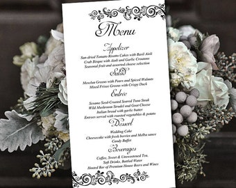 "DIY Wedding Menu Template Instant Download - Printable Menu ""Allure"" Black - Printable Wedding Menu Card Template - Entree Card"