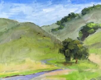 California Plein Air Artist Landscape Original Oil Painting Original Artwork Wall Art Black Diamond Mines Antioch California Farm USA 12x16