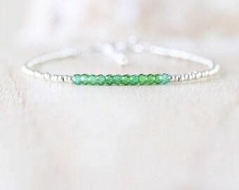 Green Zircon, Miyuki Seed Bead & Sterling Silver Bracelet. Dainty Gemstone Stacking Bracelet. Skinny Thin Layering Bracelet. Beaded Jewelry