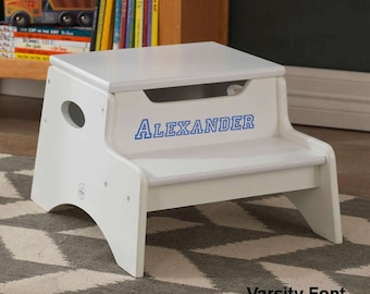 Step Stool with Storage - White for Boys
