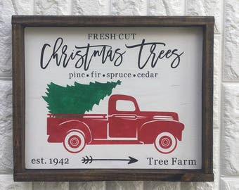Red truck, vintage truck with tree, farm fresh christmas tree, framed wood sign, no vinyl, Christmas decor, home decor, farmhouse style