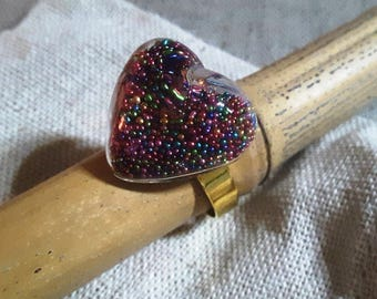 Woman ring adjustable with globe heart clear glass and multicolored glass microbeads