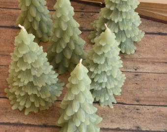 Set of 2 Green Christmas Tree Candles Winter Woodland Wedding, dinner party wedding reception table centerpiece décor
