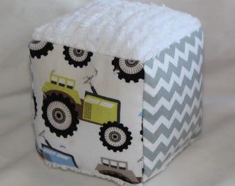 Small Tractors Fabric Block Rattle