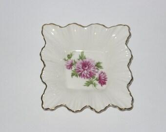 Adderley Bone China Trinket Dish Pink Chrysanthemum White China Gilded Scalloped Edges Lawley England