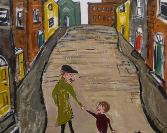 L.S.Lowry inspired original Oil painting on canvas