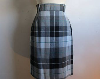 Vintage 80s Bernard Perre Skirt Black Gray Plaid Pencil Check Wool High Waist Straight Skirt 6