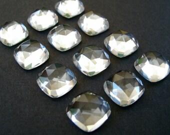 Gemstone Cabochons Clear Quartz Cushion Rose Cut 6mm FOR LAST TWO