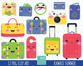 50% SALE kawaii TRAVEL clipart, luggage clipart, travel clipart, kawaii clipart, commercial use, cute graphics, planner accesories, scrap