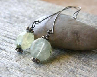 Long Prehnite Sterling Silver Earrings, Green Stone Dangle Earrings