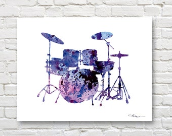 Drums Art Print - Abstract Watercolor Painting - Drum Set Music Wall Decor