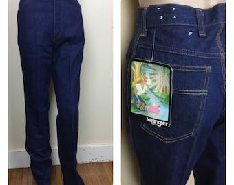 Vintage 70s Wrangler Jeans , High waist jeans dark denim straight leg , waist 26 , s horse jeans new