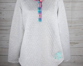 Ladies Monogrammed Quilted Tunic Pullover - Quilted Pullover - Tunic Pullover - Preppy Pullover With Elbow Patches - Pullover Sweatshirt