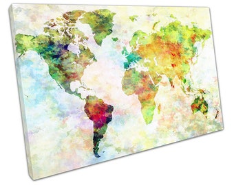 World map fabric craft fabric america africa europe asia world map art watercolour europe asia america africa ready to hang canvas x1076 gumiabroncs Images