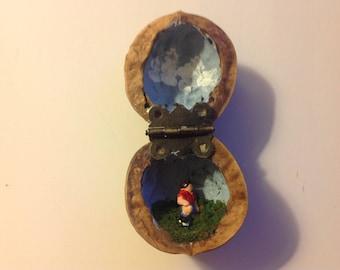 Miniature Soccer Player in Walnut Shell Diorama Folk Art
