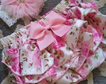 Personalized Baby Girl Coming Home Outfit Summer Newborn Girl Take Home Outfit Baby Girl Floral Ruffle Bloomer Headband Personalized Baby
