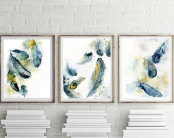 Feathers Art Print Set, Prints Set, Set of 3 Prints, Teal Feathers watercolor painting art prints, wall art print set