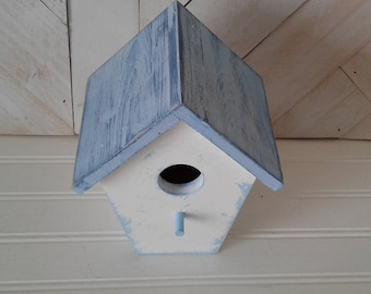 Weathered Looking Bird House, Bird House with distressed Paint, Hand Painted and Handmade,  Blue and White,  Decoration for Home and Garden