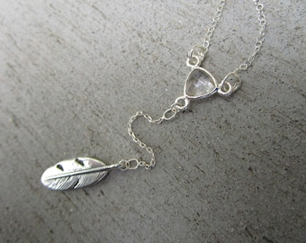 Feather Crystal Choker Sterling Silver Y Necklace