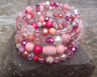 Beaded Wrap Cuff Bracelet Wild Rose Memory Bracelet Handmade Jewelry Pink Coral Pink Rose Pink Fuschia  Hot Pink