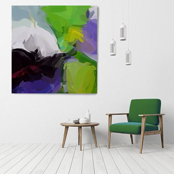 """Your Own Way 2, Art Abstract Print on Canvas up to 50"""", Green Purple Abstract Canvas Art Print, Sunny City by Irena Orlov"""