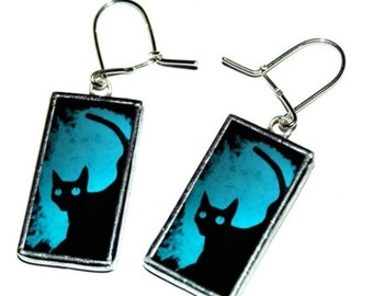 The Black Cat - earrings handmade