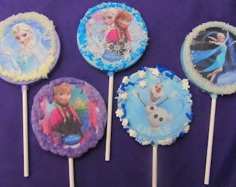 Frozen Ice Princess assorted character chocolates lollipops 12