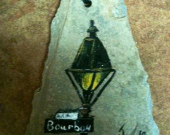 Boubon Street Sign Ornament on Slate