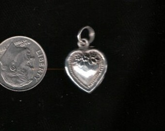 Double sided Sterling Silver Puff heart charm