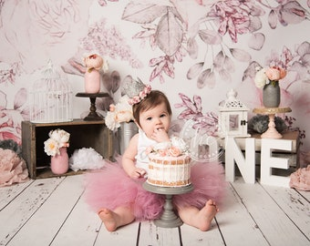 Pink and Silver Baby Girl 1st Birthday Outfit | Baby Tutu | Tutu Dress | Birthday Dress | Baby Girls Cake Smash Outfits | Birthday Tutu