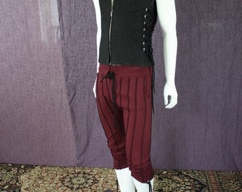 NEW!!!  Mens Circus Drop Crotch Pants In Port Red Organic Bamboo Fabric with Black Stripes
