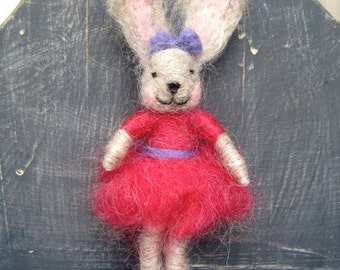 Needle felted Animal, Bunny Girl, Waldorf inspired, Spring Nature Table, Easter, felted toy, Original Design by Borbala Arvai, MADE to order