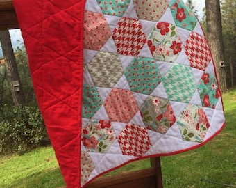 Baby quilt - floral and houndstooth hexies - pink, rosy red, aqua, white, grey - flannel