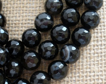 Black Faceted Madagascar Agate Beads 10mm