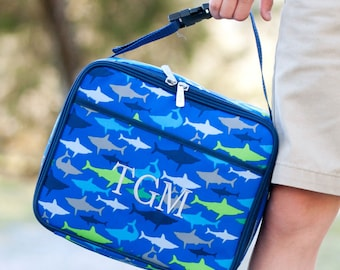 Personalized Kids Lunch Box / Monogrammed lunch box / Lunch Bag / Boys lunch Box /  Jaw-Some print