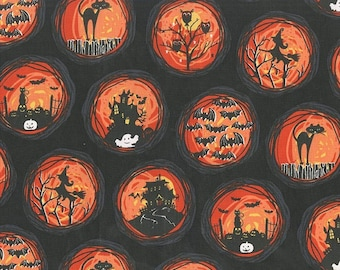 Halloween Fabric, Haunted House, Michael Miller, If You've Got It, Haunt It, Orange, Black, Witches, Black Cats, Owls, Ghosts, TheFabricEdge