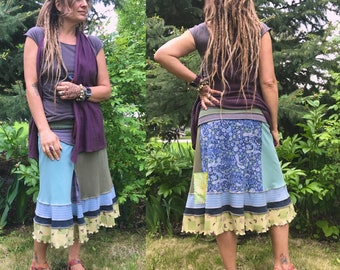 CUSTOM Make Request, MID length patchwork boho skirt, eco clothing, hippy skirt, custom skirt, gypsy skirt, festival skirt, Zasra