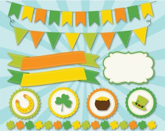 Bunting - Happy Paddy's Day Clipart / St. Patrick's Day Ribbons & Banners / Bunting Flags Vector Clipart (DOWNLOAD LINK via EMAIL)