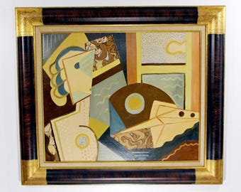 Framed Painting Signed H. Riedel Cubist Style