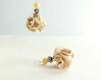 Ball Crochet Earrings Dangle Textile Earrings Statement Earrings Neutral Color and Silver