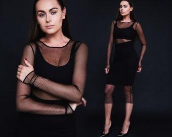 Mesh dress Black mesh dress See through dress Long sleeved black dress Viscose dress Handmade dress Midi dress Short mesh dresses