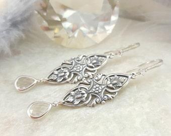 Clear Crystal Earrings Dangle - Art Nouveau Jewelry - Art Deco Earrings Silver - Vintage Style Long Dangle Earrings Antique Silver E2129