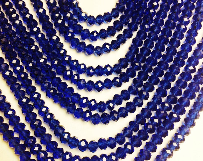 Crystal faceted rondelle - 100 pcs - full strand - 4 mm - A quality - blue - FCRM40