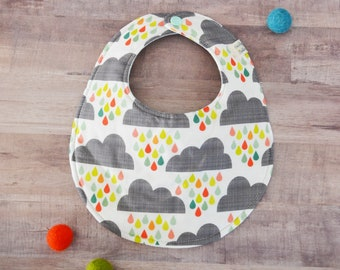 Happy Clouds Reversible Cotton and Mint Gauze Snapable Baby Bib