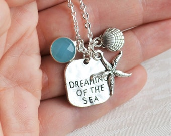 Sea necklace Beach jewery Starfish necklace Seafoam blue necklace Shell necklace Boho necklace Bohemian jewelry Gift for her Long necklace